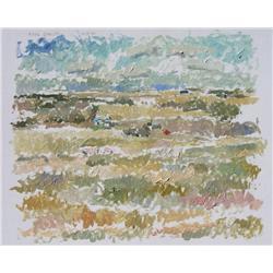 Reta Madeline Cowley Canadian CSPWC [1910-2004]PRAIRIE LANDSCAPE WITH A BLUE FARMHOUSE; 1965oil on b