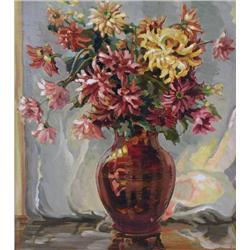 Edith Grace Coombs (Lawson) Canadian OSA, CSGA [1890-1986]AUTUMN BOUQUET (CHRYSANTHEMUMS); 1934oil o