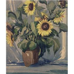 William Garnet Hazard Canadian CPE [1903-1987]SUNFLOWERSwatercolour on paper21.5 x 18.5 in. (51.6 x