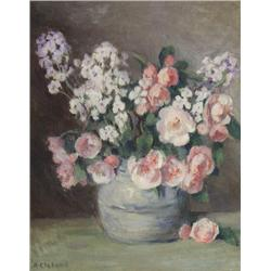 Mary Alberta Cleland Canadian [1876-1960]FLORAL STILL LIFEoil on canvas19 x 15.5 in. (48.3 x 39.4 cm