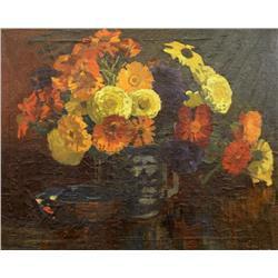 Mary Evelyn Wrinch Reid Canadian CPE, OSA, RCA [1877-1969]FLOWERS IN A BLUE JUG; 1924oil on board16.