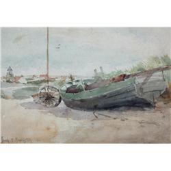 Frank Milton Armington Canadian MSA [1876-1941]BOAT ON SHORE, 1911watercolour on paper8 x 11.75 in.
