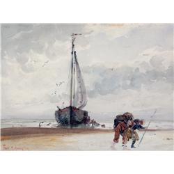 Frank Milton Armington Canadian MSA [1876-1941]UNLOADING THE SHIPwatercolour heightened with white o