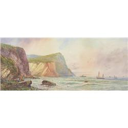 William Armstrong Canadian [1822-1919]SHIPS BY THE BLUFFS, LAKE SUPERIORwatercolour heightened with