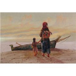 Thomas Mower Martin Canadian OSA, RCA [1838-1934]PACIFIC COAST, HAIDA INDIANSwatercolour on paper8.2