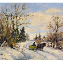 Berthe Des Clayes Canadian [1877-1968]THE YELLOW SLEIGHoil on panel12 x 13 in. (30.5 x 33 cm)signedP