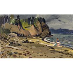 Lorne Holland Bouchard Canadian RCA [1913-1978]L'ANSE A BRILLANT (GASPE COAST)oil on board16 x 26 in