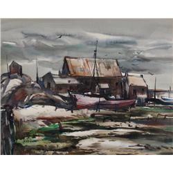 Franklin Leonard Brooks Canadian CPE, CSGA, OSA, RCA [1911-1989]FISHING VILLAGE; 1951watercolour on