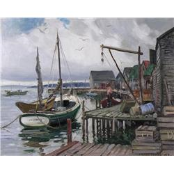 Frank Shirley Panabaker Canadian RCA [1904-1992]NEW HARBOUR, NOVA SCOTIA; 1956oil on board16 x 20 in