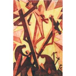 Sybil Andrews Canadian CPE [1898-1992]GOLGOTHA; 1931linocut in four colours; ed. No. 3EP12.25 x 8 in