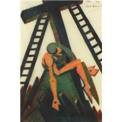 Sybil Andrews Canadian CPE [1898-1992]PIETA; 1932linocut in four colours; ed. #19/6010.5 x 7 in. (26