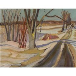 Alexander Young Jackson Canadian CGP, G7, OSA, RCA [1882-1974]COUNTRY ROAD NEAR OTTAWA, WINTER; 1961