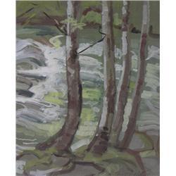 Ina D. D. Uhthoff Canadian BCSA [1889-1971]TREE TRUNKSgouache on paper14 x 12 in. (35.6 x 30.5 cm)si