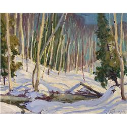 George Arthur Kulmala Canadian OSA [1896-1940]SUNLIGHT ON THE SNOWoil on panel8 x 10 in. (20.3 x 25.