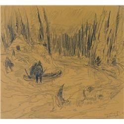 Rene Jean Richard Canadian [1895-1982]IN THE MACKENZIE RIVER DELTA, NORTHWEST TERRITORIES, 68 DEGREE