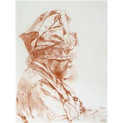Ivan Kenneth Eyre Canadian RCA [b. 1935]WRAPPED HEAD XXII; 1979red chalk on paper12.75 x 9.75 in. (3