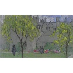 Mary Alexandra Bell Eastlake Canadian RCA [1864-1951]URBAN PARK IN SPRINGpastel on paper8 x 13.25 in