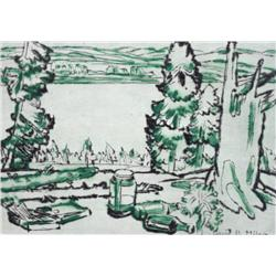 David Brown Milne Canadian CSPWC, CGP, CSGA [1882-1953]PAINTING PLACE; 1931two colour drypoint etchi