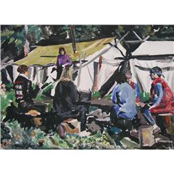 Ken Christopher Canadian [b. 1942]ARTISTS IN CAMP; 1996acrylic on canvas24 x 33 in. (61 x 83.8 cm)si