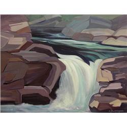 Lorna Dockstader Canadian FCA, PSC [b. 1947]ELBOW FALLSoil on canvas16 x 20 in. (40.6 x 50.8 cm)sign