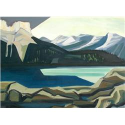 David Pugh Canadian [1946-1994]MOUNTAIN LAKE; 1981oil on canvas38.75 x 52.5 in. (98.4 x 133.4 cm)sig