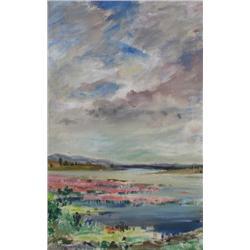 Wynona Croft Mulcaster Canadian FCA [b. 1915]LAKESIDE; 1984acrylic on canvas31 x 19.75 in. (78.7 x 5