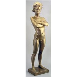 Al Stinson Canadian [b. 1950]STANDING FEMALE NUDE WITH CROSSED ARMS; 1992bronze22.25 in. (56.5 cm) h