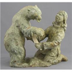 Mark Totan Canadian Igloolik/Hall Beach [b. 1953]BEAR AND MAN; 1995carved soapstone and bone9 x 10 x