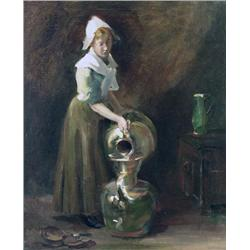 Jozef Israels Dutch [1824-1911]DUTCH GIRL POURING WATER; 1872oil on canvas24 x 20 in. (61 x 50.8 cm)