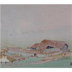 Walter Joseph Phillips Canadian ASA, CPE, CSPWC, MSA, RCA [1884-1963]THE FIELD BARN; 1925colour wood
