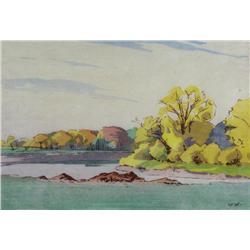 Walter Joseph Phillips Canadian ASA, CPE, CSPWC, MSA, RCA [1884-1963]FALL, ASSINIBOINE RIVER; 1931co