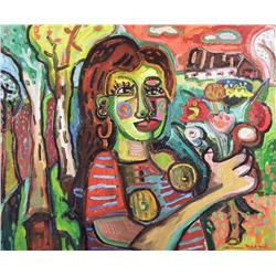 Pierre Bedard Canadian [b. 1960]JEUNE FILLE AU BOUQUET; 2005oil on canvas30 x 36 in. (76.2 x 91.4 cm