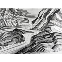 David Pugh Canadian [1946-1994]ICEFIELDS NO. 5; 1982graphite on paper22 x 30 in. (55.9 x 76.2 cm)sig
