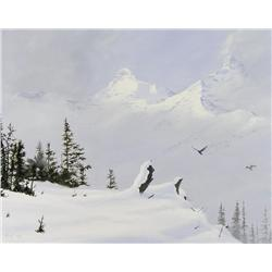 Ted Raftery Canadian [b. 1938]MOUNTAIN RAVENS ABOVE HILDA CREEK; 1988oil on canvas16 x 20 in. (40.6