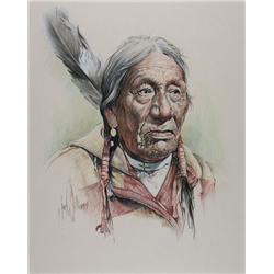Jon Williams Canadian [b. 1946]PORTRAIT OF AN ELDER WITH EAGLE FEATHERpastel on paper19.5 x 15.5 in.