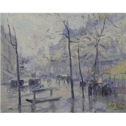 French School [early 20th century]STREET SCENEoil on canvas15 x 18.5 in. (38.1 x 47 cm)signed indist