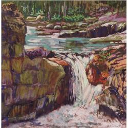 Karin Richter Canadian ASA, CSPWC, SCA [b.  1950]ELBOW FALLSpastel on paper16 x 16 in. (40.6 x 40.6