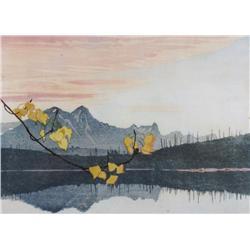 Walter Joseph Phllips Canadian ASA, CPE, CSPWC, MSA, RCA [1884-1963]LEAF OF GOLD; 1941colour woodcut
