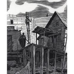 Walter Joseph Phllips Canadian ASA, CPE, CSPWC, MSA, RCA [1884-1963]SHACKS ON THE BEACH, KARLUKWEES;