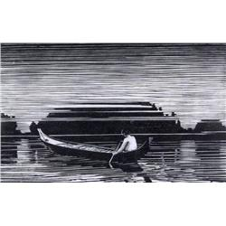 Walter Joseph Phllips Canadian ASA, CPE, CSPWC, MSA, RCA [1884-1963]DUGOUT; 1930wood engraving on pa
