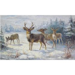 Nora Drummond-Davis Canadian [1862-1949]DEERoil on board9.25 x 15 in. (23.5 x 38.1 cm)signed & title