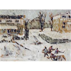 Robert F. M. McInnis Canadian [b. 1942]LIGHT SNOW; 1983oil on board9 x 12 in. (22.9 x 30.5 cm)signed