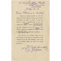 Lewis Carroll signed letter sending a specimen of his Stamp-Case depicting Alice