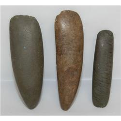 THREE MIDWEST STONE CELTS