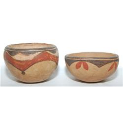 TWO ZIA POTTERY BOWLS