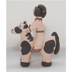 ZUNI POTTERY HORSE & RIDER