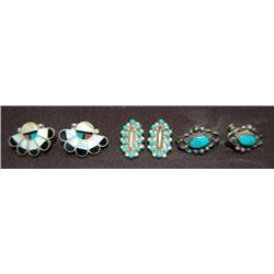 THREE PAIR OF NAVAJO EARRINGS