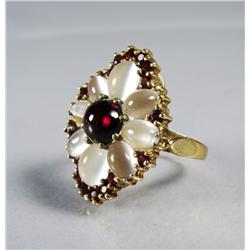 A Ladies Gold Vermeil, Moonstone, Garnet and Tanzanian Garnet Ring.