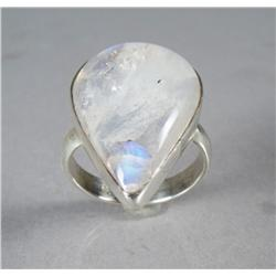A Ladies Sterling Silver and Rainbow Moonstone Ring.