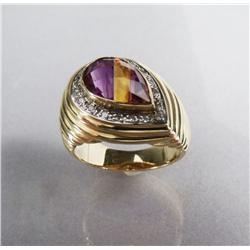 A Ladies 14 kt Yellow and White Gold, Amethyst, Citrine and Diamond Ring.